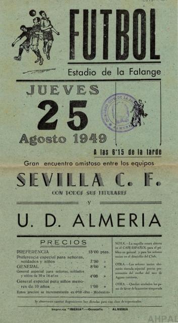 Encuentro amistoso entre el Sevilla F.C. y la Unión Deportiva Almería, año 1949 [AHPAL CAR-006]
