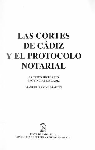Las Cortes de Cádiz y el Protocolo Notarial
