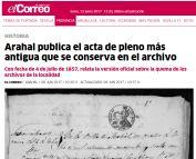 Arahal publica el acta de pleno más antigua que se conserva en el archivo
