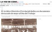 El Archivo Histórico Provincial dedica su documento destacado de mayo al Día del Trabajo 5-2020