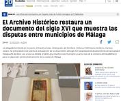 El Archivo Histórico restaura un documento del siglo XVI que muestra las disputas entre municipios de Málaga