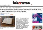 El Archivo Municipal de Málaga expone un documento del siglo XVIII referente al origen de la Alameda