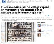 El Archivo Municipal de Málaga expone un manuscrito relacionado con la nobleza española en el siglo XVIII