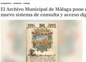 El Archivo Municipal de Málaga pone en servicio un nuevo sistema de consulta y acceso digital.