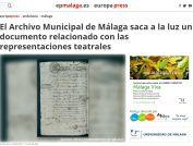 El Archivo Municipal de Málaga saca a la luz un documento relacionado con las representaciones teatrales