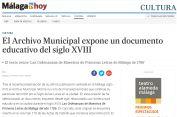 El Archivo Municipal expone un documento educativo del siglo XVIII