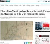El Archivo Municipal recibe un listín telefónico de Algeciras de 1916 y un mapa de la Bahía