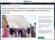 Junta invierte 5,3 millones en la nueva sede del Archivo General de Andalucía en el Pabellón del Futuro de la Expo'92