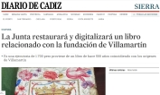 La Junta restaurará y digitalizará un libro relacionado con la fundación de Villamartín