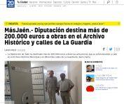 MásJaén.- Diputación destina más de 200.000 euros a obras en el Archivo Histórico y calles de La Guardia