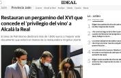 Restauran un pergamino del XVI que concede el privilegio del vino a Alcalá la Real