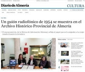 Un guión radiofónico de 1954 se muestra en el Archivo Histórico Provincial de Almería