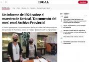 Un informe de 1924 sobre el maestro de Urrácal, Documento del mes en el Archivo Provincial