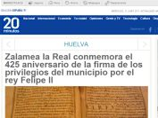 Zalamea la Real conmemora el 425 aniversario de la firma de los privilegios del municipio por el rey Felipe II