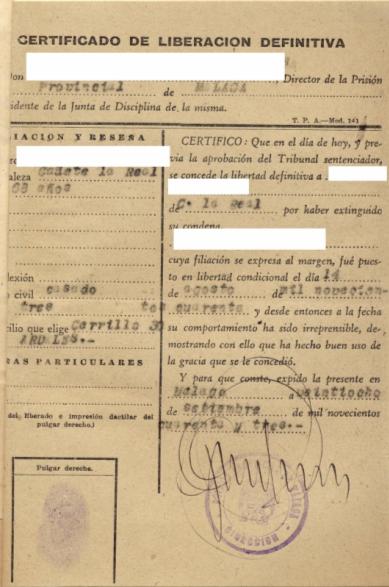 Certificado de liberación definitiva