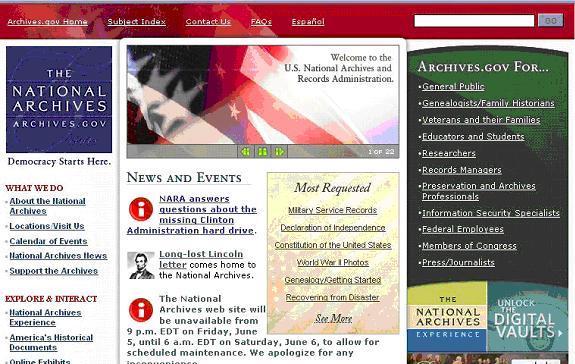 Portada del sitio web www.archives.gov