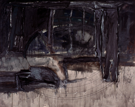 GERARDO DELGADO. Las ruinas. El anfiteatro, 1985. Serie Las Ruinas. Acrílico y temple vinílico sobre tela. 200,5 x 251 cm