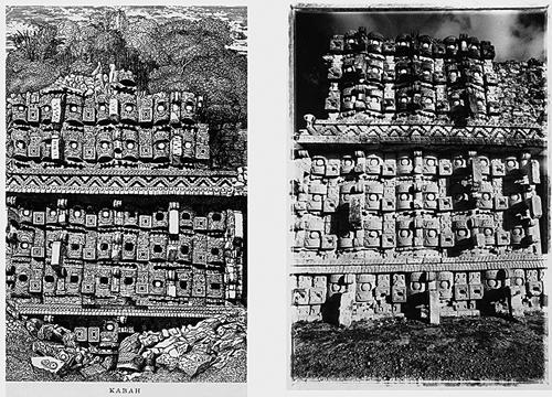LEANDRO KATZ. Kabah, a la manera de Catherwood (Templo de las máscaras, vista parcial), 1985/2012. Fotografía B/N. Impresión digital. 40,5 x 50,8 cm