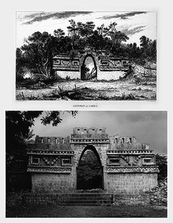 LEANDRO KATZ. Arco de Labná, a la manera de Catherwood (fachada del este), 1991/2012. Fotografía B/N. Impresión digital. 50,8 x 40,5 cm
