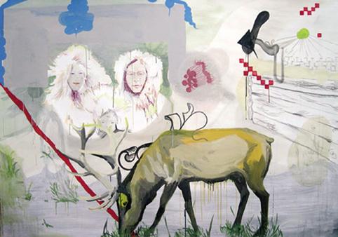 MIKI LEAL. Parquer Jasper, 2004. Acrílico y acuarela sobre papel. 155 x 210 x 4,5 cm.
