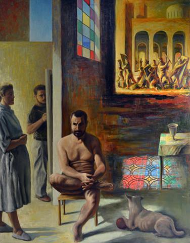 GUILLERMO PÉREZ VILLALTA. Sacra conversación, 1986. Óleo sobre lienzo. 223 x 180 cm