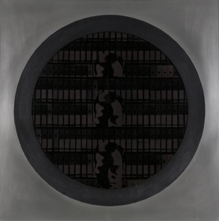"""JOSÉ IRANZO ALMONACID, """"ANZO"""". Aislamiento 71, 1971. 100 x 100 cm. Serigrafía montada en acetato de aluminio y madera"""