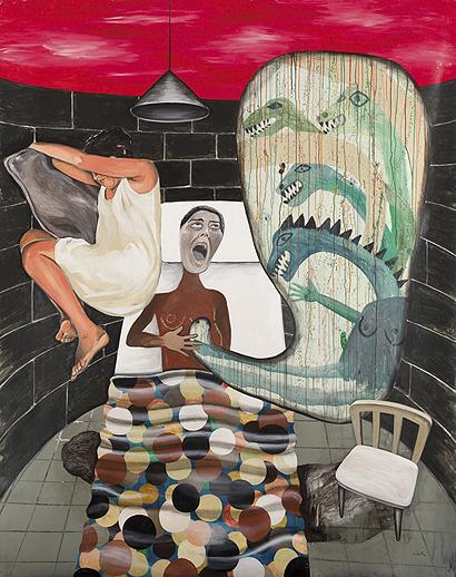 CRISTINA LAMA. Esta noche ha llovío mañana hay barro, 2006. Mixta sobre tela. 250 x 201 x 3 cm