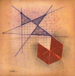 JOSE LUIS ALEXANCO. Sombras NY, 1980. Dibujo-collage, lápiz de grafito y tinta sobre papel. 20,5 x 20,5 cm