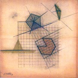 JOSE LUIS ALEXANCO. Pirámide NY, 1980. Dibujo-collage, lápiz de grafito y tinta sobre papel. 20,5 x 20,5 cm