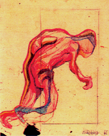 JOSE LUIS ALEXANCO. Postura para hombre corriendo, 1965. Dibujo-collage, lápiz de grafito y tinta sobre papel. 18 x 14 cm