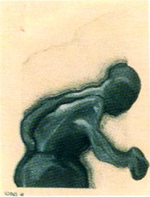 JOSE LUIS ALEXANCO. Postura para hombre corriendo, 1968. Dibujo-collage, lápiz de grafito y tinta sobre papel. 13 x 10 cm