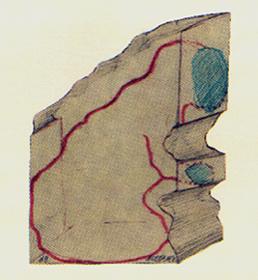 JOSE LUIS ALEXANCO. Proyecto MT IV, 1968. Dibujo-collage, lápiz de grafito y tinta sobre papel. 13,5 x 10 cm