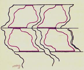 JOSE LUIS ALEXANCO. Proyecto MT V, 1967. Dibujo-collage, lápiz de grafito y tinta sobre papel. 25 x 25 cm