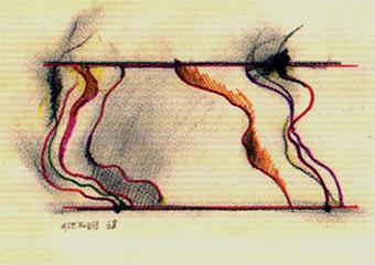 JOSE LUIS ALEXANCO. Proyecto MT-V bis, 1968. Dibujo-collage, lápiz de grafito y tinta sobre papel. 13,5 x 19 cm