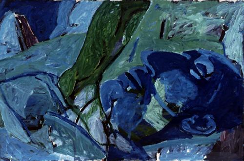 JOSÉ MARÍA BAEZ. Manolete yacente, 1985. Acrílico sobre papel. 147 x 220 x 6,7 cm.