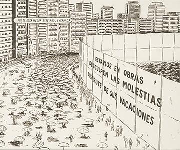MIGUEL BRIEVA. Playa en obras, 2005. 22 x 26 cm. Tinta negra sobre papel