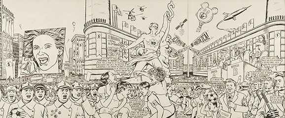 MIGUEL BRIEVA. Portada de la revista Ajoblanco, 2007. 80 x 36 cm. Tinta negra sobre papel