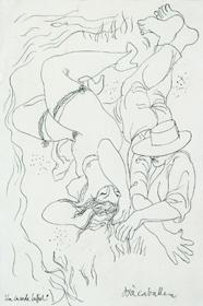 JOSÉ CABALLERO. La casada infiel, 1935. 27 x 18,5 cm. Dibujo a tinta sobre papel (Ilustra un romance del mismo título incluido en el Romancero gitano de Lorca)