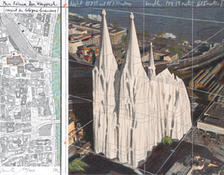 CHRISTO y JEANNE-CLAUDE. Mi catedral de Colonia, 1992. Nº Edición XVIII / XXX. 55,7 x 70,8 cm. Litografía y collage sobre papel