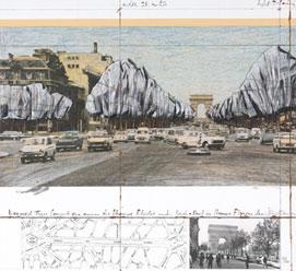 CHRISTO y JEANNE-CLAUDE. Avenida de los Campos Elíseos, 1992. Nº Edición 97/100. 69,8 x 75 cm. Litografía y collage.