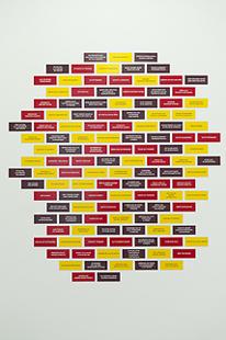 RUTH EWAN. Six signs, 2011. 126 piezas de 20 x 8 cm c/u. Piezas grabadas en traffolyte