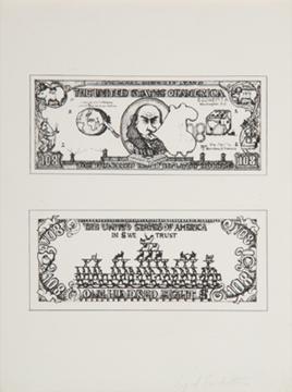 OYVIND FAHLSTRÖM. $ 108 Bill, 1973. 30 x 22, 5 cm. Serigrafía