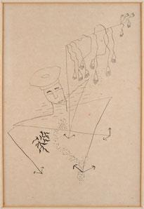 FEDERICO GARCÍA LORCA. Marinero ahogado, (Ilustraciones para El tabernáculo, libro de poemas de Molinari), 1934. 21,5 x 14,7 cm. Dibujo a pluma