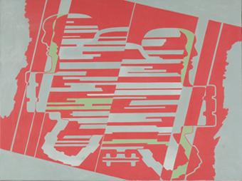 LUIS GORDILLO. Descendiendo rojo-gris, 1968. Óleo sobre lienzo 97 x 130 cm