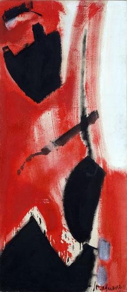 JOSÉ GUERRERO. Aurora Ascendente, 1955. 172 x 76 cm. Óleo sobre lienzo.