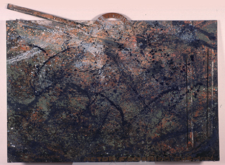 FEDERICO GUZMÁN. Tres cristales de diseño, 1985. Mixta sobre tela. 145,7 x 195,4 cm
