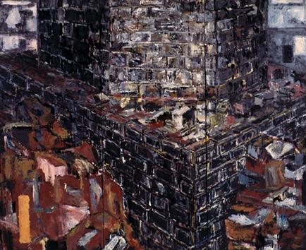 JUAN LACOMBA. Nocturno: cimientos de torre, 1985. Óleo sobre madera. 203 x 248 cm