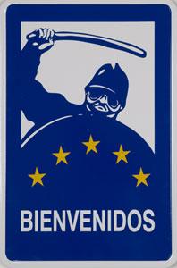 ROGELIO LÓPEZ CUENCA. Bienvenidos, 1998. 90 x 60 x 2,5 cm. Vinilo y placa de zinc esmaltada