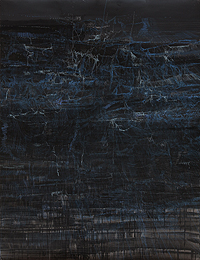 RUTH MOR&Aacute;N. Filamentos y brisas I, 2009. 180 x 140 cm. Mixta sobre papel