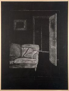 JUAN MUÑOZ. Interior de gabardina I, 1994. Carp. Malpaís. Nº 15/35. 159,5 x 121,5 cm. Grabado a la manera negra